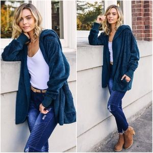 🆕TODAY ONLY Tori | Plush Open Hooded Coat | Teal